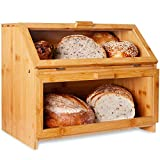 LAURA'S GREEN KITCHEN Extra Large Double Compartment Bread Box: Bamboo BreadBox w/Clear Windows- Rustic Farmhouse Style Bread Holder for Kitchen Countertop - Double Layer Bread Storage (Self-Assembly)