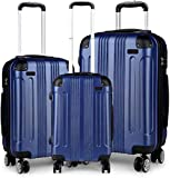 Conjunto de maletas de 3 piezas, maleta ABS ligera, 4 Maleta de viaje redonda,Blue