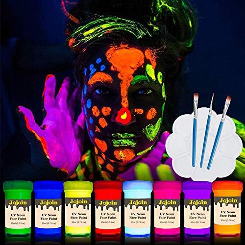 Jojoin Vernice Fluorescente Colorato, Neon Kit per Pelle Viso Corpo, 20ml 8 bottiglie UV Colori...