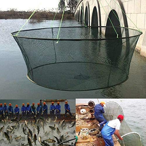 mkvfa Foldable Drop Net Fishing Landing Net Prawn Crab Shrimp Pier Harbour Pond Mesh Fishing Nets Accessories Durable