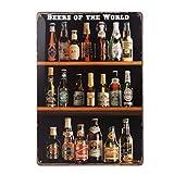 winomo Beers of the world Vintage Cartel de chapa pared decoración