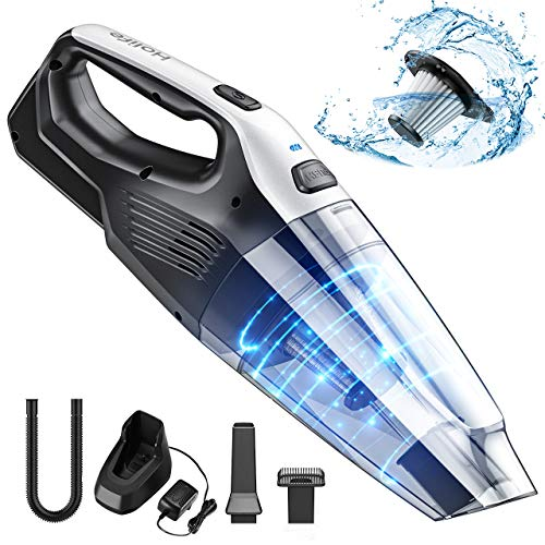 Holife Handheld Vacuum Cordless, 7kpa Hand Vacuum Cleaner with Rechargeable Replaceable Battery Quick Charge & Stainless Steel Filter, Portable Dry Vac for Car Pet Hair Home Office Carpet Cleaning