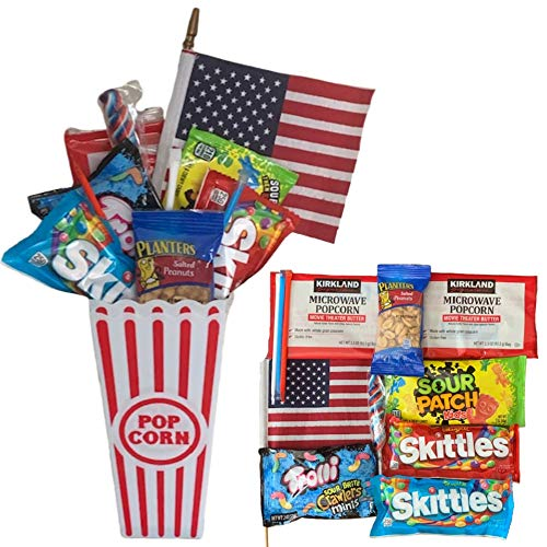 Movie Night Popcorn Snack Gift Basket The Best Care Package of Sweet and Sour Candy Peanuts Twist Pop and USA Flag