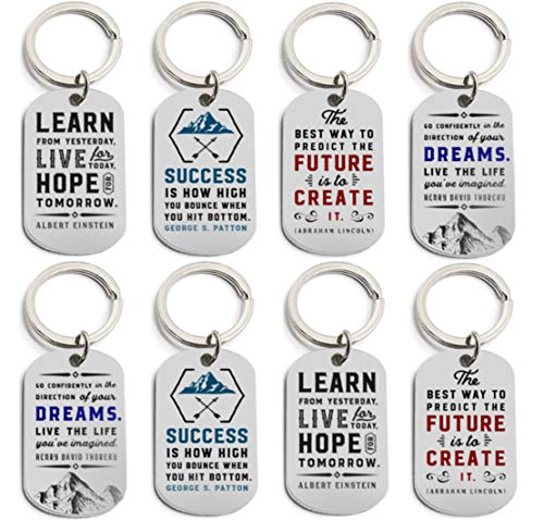 (12-Pack) Motivational Keychains with Inspirational Quotes -...