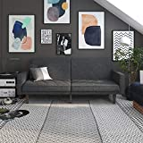 DHP Paxson Convertible Futon Couch Bed with Linen Upholstery and Wood Legs - Grey