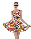 CowCow Womens Fun Pop Art Words Sky Blue Party Skater Dress - M