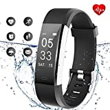 Lintelek Fitness Tracker - Activity Tracker with Heart Rate Monitor, Waterproof Smart Fitness Watch with Sleep Monitor, Step Counter, Calorie Counter, Pedometer Watch for Women Men and Gifts(Black)