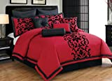 KingLinen Premium Comforter Sets Queen Full Size Set in Romantic Adult Luxury 10 Piece Elegant Red and Black Design