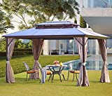 YOLENY 10'x13' Outdoor Polycarbonate Double Roof Hardtop Gazebo Canopy Curtains Aluminum Frame with...