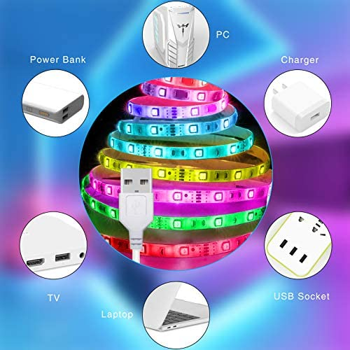 LED Strip Lights Battery Powered13.12ft,Tenmiro Led Lights USB Powered for TV,RGB 5050 Color Changing Led Lights,with Remote Led Lights for Bedroom,Home Decoration,Party,Camping 13