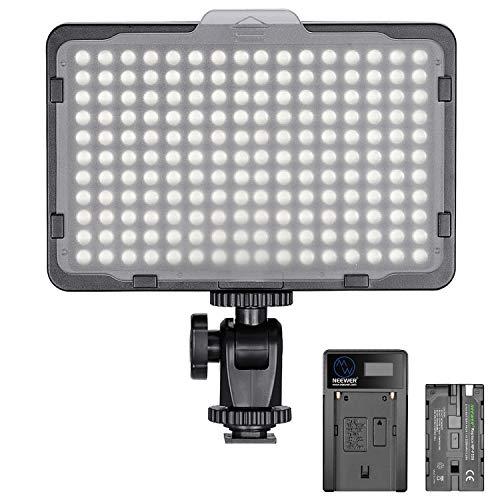 Neewer Pannello Luce 176 LED Dimmerabile 5600K On-camera con Batteria 2200mAh & Caricabatterie a USB, per Fotografia Reflex Digitali Canon Nikon Pentax Panasonic Sony ecc.