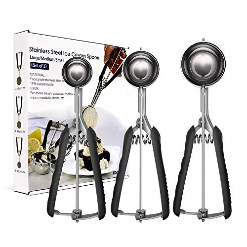 2020New Update Cookie Scoop Set of 3(Black), Stainless Steel Ice Cream Scoop Include Large-Medium-Small Size, Good Grips Squeeze Melon Disher