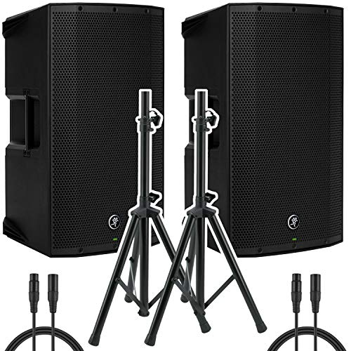 Pair of Mackie Thump15BST Boosted -1300W 15' Advanced Powered Loudspeakers with Pair of Steel Speaker Stand and Pair of XLR-XLR Cable