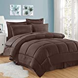 Sweet Home Collection 8 Piece Comforter Set Bag with Unique Design, Bed Sheets, 2 Pillowcases & 2 Shams Down Alternative All Season Warmth, Queen, Dobby Chocolate