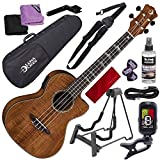 Luna High Tide Koa Tenor A/E Ukulele with Built-in Preamp and Free Gig Bag + Clip-On Tuner & Uke Stand Complete Accessory Pack