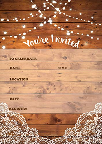 25 Rustic Invitations & 25 envelopes for Wedding, Bridal Shower, Birthdays, engagements, bachelorettes This Wood Rustic Invite Style is Also Great for Housewarming, Retirement & rehersal Parties.