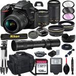 Tech :  Appareil photo reflex numérique Nikon D3500 avec VR 18-55 mm et objectif 70-300 mm avec téléobjectif 420-800 mm préréglé f / 8 + carte 128 Go, trépied, flash et plus encore (ensemble 23pc)  , avis