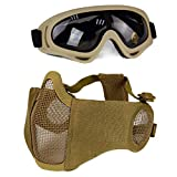 Aoutacc Airsoft Protective Gear Set, Half Face Mesh Masks with Ear Protection and Goggles Set for CS/Hunting/Paintball/Shooting (Tan)