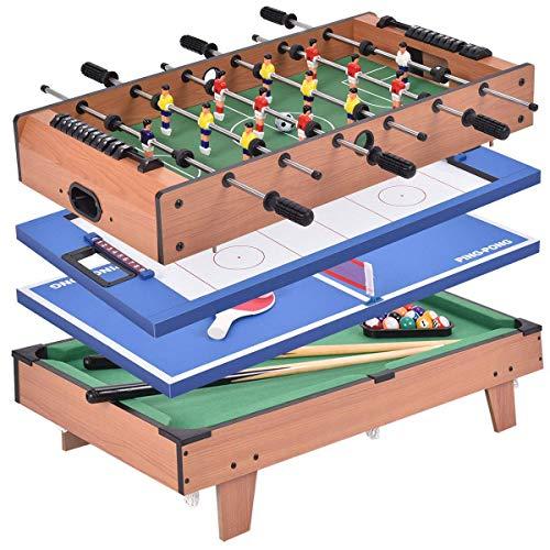 COSTWAY 4 in 1 Spieltisch, Tischkicker & Air Hockeytisch & Tischtennistisch & Billardtisch, Multispieltisch aus Holz, Multifunktionsspieltisch mit Zubehör, perfekt für Kinder und Erwachsene
