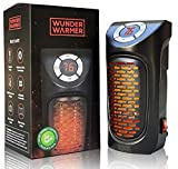 Wunder Warmer - (1 Pack) 350W Ceramic Wall-Outlet Space Heater, Adjustable Thermostat, Plug-in Portable Mini Heater with Timer & LED Display, Personal Electric Heater for Office Home Dorm Room