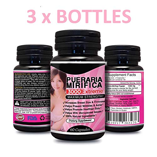 Herbal Young 3 x BOTTLES Natural Pueraria Mirifica Daily 1000mg Capsules - Breast Enhancement Pills For Women - Breast Enlarger, Vaginal Health, Menopause Relief, Skin & Hair Health 60 Capsules