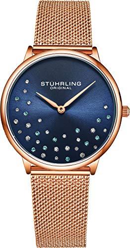 Stuhrling Original Damenuhr Krystal Analog Watch Dial, Edelstahlgewebe Armband 3928 Uhren für Damen Kollektion (Rose Gold/Blue)