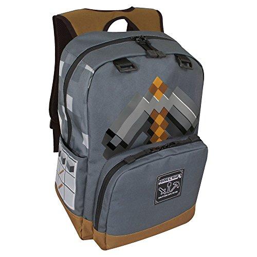 JINX Minecraft Pickaxe Adventure Kids School Backpack, Dark Grey, 17'