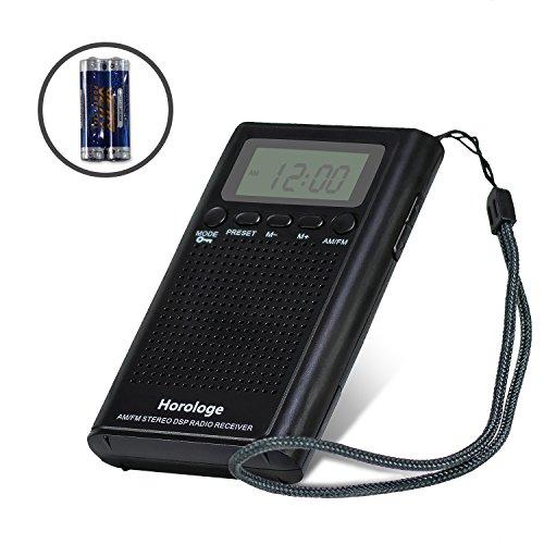 Horologe AM FM Pocket Radio,Portable Digital Radio Alarm...