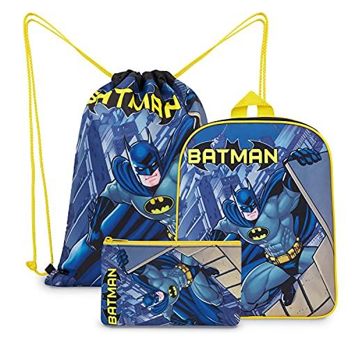 DC Comics Zaino Scuola, Zainetto Asilo Bambino di Batman con Sacca Sportiva e Astuccio
