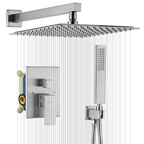 IRIBER Brushed Nickle Shower System 12 Inch High Pressure Rainfall Shower Head Brass Shower Set Bathroom Rain Shower Mixer Shower Valve Modern Rain Shower and Shower Faucet and Handheld Combo Set