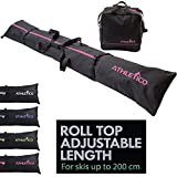 Athletico Two-Piece Ski and Boot Bag Combo | Store & Transport Skis Up to 200 cm and Boots Up to Size 13 | Includes 1 Ski Bag & 1 Ski Boot Bag (Black with Pink Trim)