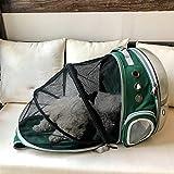 ZBHGF Ampliable Portador del Gato Mochila, Cápsula Espacial Burbuja Portador del Gato para El Pequeño Perro, Mascotas Yendo De Excursión el Morral Que Acampa,Verde