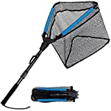 PLUSINNO Fishing Net, Floating Rubber Coated Landing Net - Easy Catch Release, Retractable Foldable Fishing Net for Easy Transport Storage for Bass Trout Catfish Pike Salmon Fly Kayak Fishing