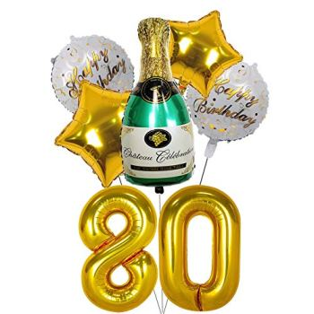GZLCWL 80th birthday balloons Golden, 40 inch Number 80 Balloon,80th anniversary Balloons,Digit 80 Helium Balloons for Wedding /Birthday Decoration, Party Decoration