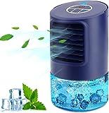 Climatiseur Portable, 4 en 1 Mini Refroidisseur D'air à ventilateur de refroidissement, con 3 Velocità,Timer 2/4h, 7 Colori Luce, per Casa e Ufficio,Cadeau...