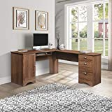 Large 66'' L-Shaped Corner Desk Computer Desk PC Table Home Office Writing Workstation with Drawers,File Cabinet,Hidden Storage Space Shelf,Walnut,66''L x 66''L x23.6''W x30.3''H