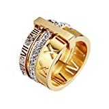 PAMTIER Women's Stainless Steel with Zirconia Roman Numerals 3 in 1 Ring Rose + Gold Size 9