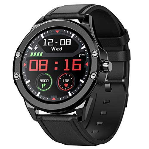 Smart Watch for Android and iOS Bluetooth Smartwatch for Women Men IP68 Waterproof Fitness Activity Tracker with Heart Rate Blood Pressure Sleep Monitoring (Leather+Silicone Band)