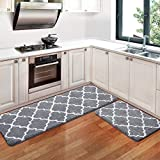 KMAT Kitchen Rugs and Mats [2 PCS] Super Absorbent Microfiber Kitchen Mat Non Slip Machine Washable Runner Carpets for Floor, Kitchen, Bathroom, Sink, Office, Laundry,17.3'x28'+17.3'x47',Grey