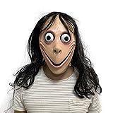 Creepy Momo Mask, Scary Momo Challenge Games Evil Latex Masks with Wig
