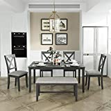 Wooden Rectangular Dining Table Set, 6-Piece Kitchen Dining Table Set with 4 Upholstered Chairs and 1 Bench (Gray-6pcs)