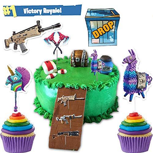 Videojuegos para decoración de pasteles 41pcs, decoraciones para pasteles de Battle Royale, decoración para cupcakes para niños, suministros para fiesta de cumpleaños para fanáticos del juego