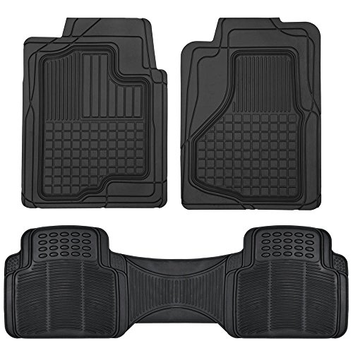 Motor Trend All Weather Semi-Custom Heavy Duty Rubber Floor Mats for Auto Car Truck SUV … (2 Front & Liner)