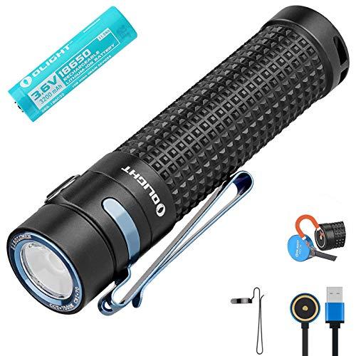 Olight S2R II Lampe de Poche 1150 Lumens / 135 Mètres Chalumeaux Portables Rechargeables Magnétiques SST-40 CW LED LED USB Torche, avec Batterie 18650 + Compartiment des piles BanTac