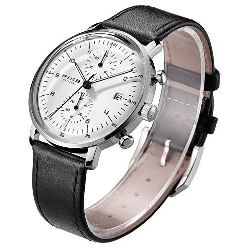 FEICE Armbanduhr Herren Japanisches Quarzwerk Analog Multifunktionsuhr mit Leder Armband (2_FS301)