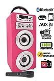 DYNASONIC - Altavoz Karaoke Bluetooth 10W, Color Rosa | Reproductor mp3 inalámbrico portátil, Lector USB SD, Radio FM