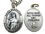 One St Sebastian 3/4 Inch Baseball Medal & Chain Made in Italy