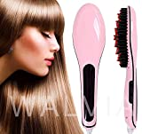 WALVIA Hair Electric Comb Brush 3 in 1 Ceramic Fast Hair Straightener For Women's Hair Straightening Brush with LCD Screen, Temperature Control Display,Hair Straightener For Women (Pink Simple)
