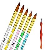 Hanyousheng 5pcs Pincel Uñas de Brochas de Uñas Gel Acrílico Carving Pen Pincel Líquido Polvo DIYJuego de 5 Pinceles de Uñas de Gel UV con...