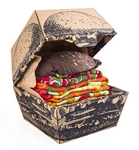 Rainbow Socks - Donna Uomo Divertenti Vegan Hamburger Calze - 2 Paia - Taglia 36-40